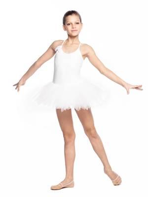ГП 1.01 Купальник гимнастический для девочек с юбкой (фото, Белый)