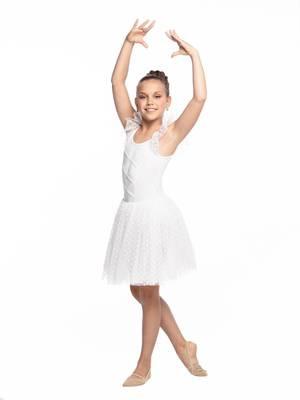 ГП 2.03 Купальник гимнастический для девочек с юбкой (фото, Белый)