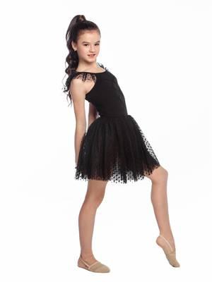 ГП 2.03 Купальник гимнастический для девочек с юбкой (фото, Черный)
