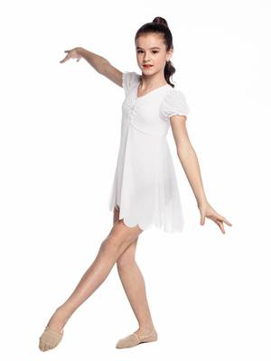 Г 11.3 Купальник гимнастический для девочек с юбкой (фото, Белый)