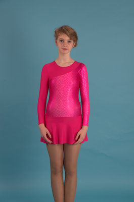 Г 2.11 Купальник гимнастический для девочек с юбкой (фото, Малиновый)