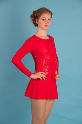 Г 2.11 Купальник гимнастический для девочек с юбкой (фото, Красный)